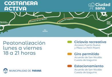 Peatonalizarán la Costanera Baja para recreación, esparcimiento y deporte